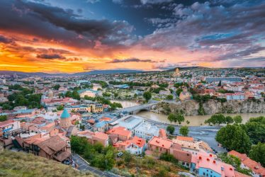 Silk Road Tours NZ - Tbilisi, Georgiai. Colorful Sunset. Summer Cityscape.